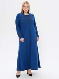 Blue - Unlined - Crew neck - Viscose - Plus Size Dress