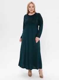 Green - Unlined - Crew neck - Viscose - Plus Size Dress