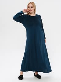 Petrol - Unlined - Crew neck - Viscose - Plus Size Dress