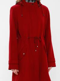 Red - Fully Lined - Crew neck - Viscose - Coat