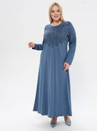 Blue - Floral - Unlined - Crew neck - Plus Size Dress