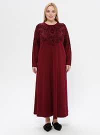 Fuchsia - Floral - Unlined - Crew neck - Plus Size Dress