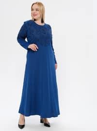 Indigo - Floral - Unlined - Crew neck - Plus Size Dress
