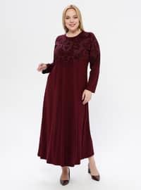 Cherry - Floral - Unlined - Crew neck - Plus Size Dress