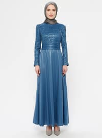 Indigo - Blue - Fully Lined - Crew neck - Muslim Evening Dress
