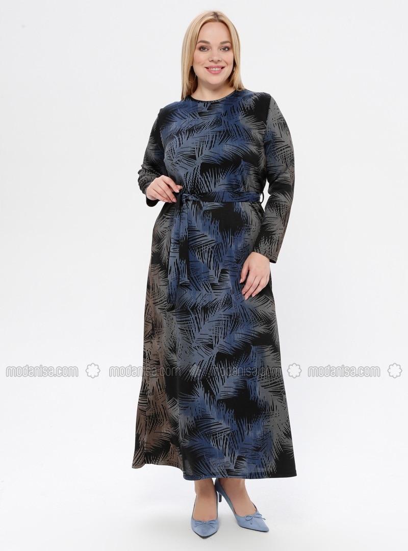 Indigo - Multi - Unlined - Crew neck - Plus Size Dress