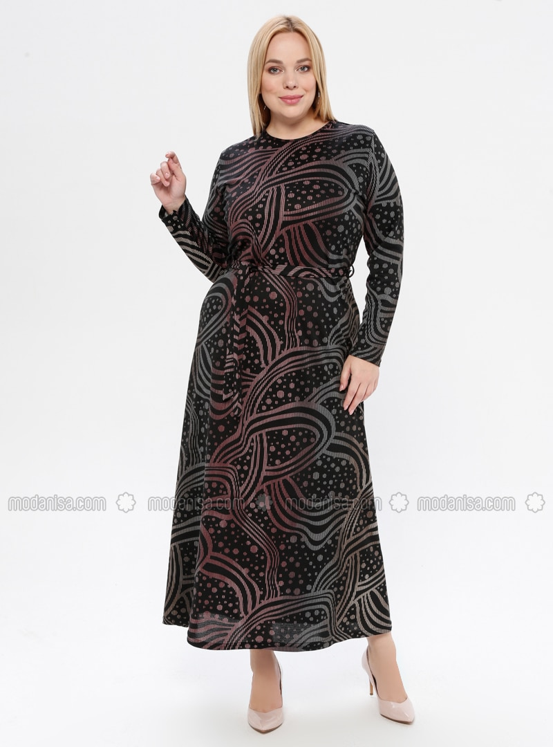 Multi - Powder - Multi - Unlined - Crew neck - Plus Size Dress