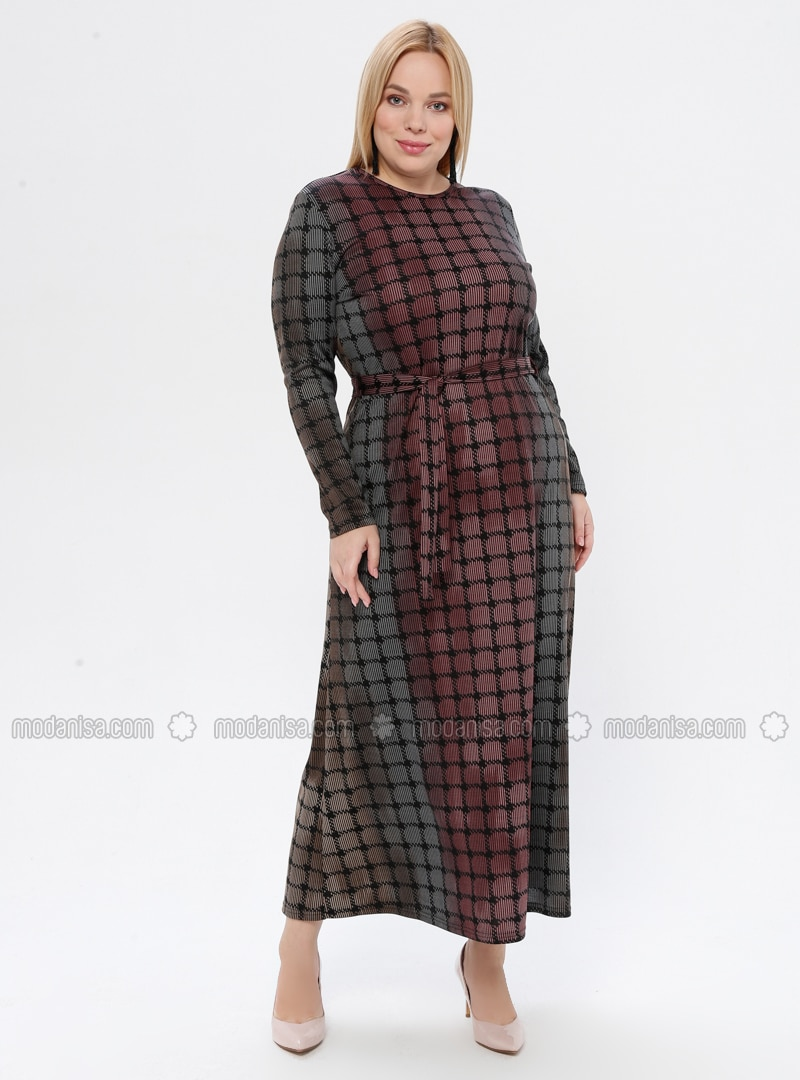 Powder - Multi - Unlined - Crew neck - Plus Size Dress