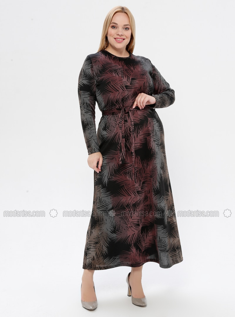 Powder - Multi - Unlined - Crew neck - Plus Size Dress