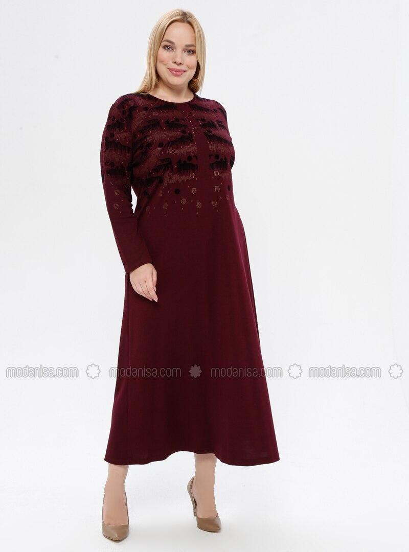 Cherry - Unlined - Crew neck - Plus Size Dress