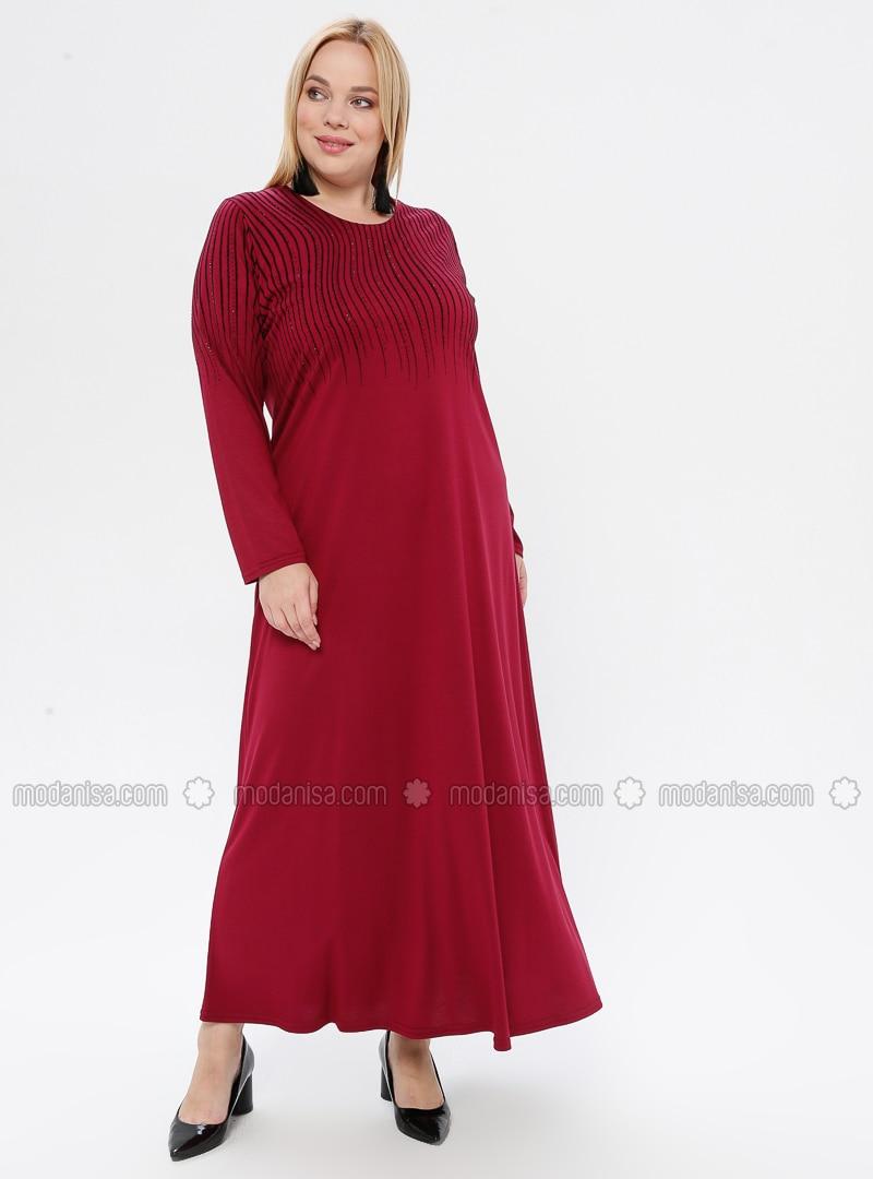Fuchsia - Unlined - Crew neck - Viscose - Plus Size Dress