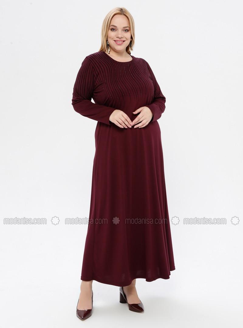 Dusty Rose - Unlined - Crew neck - Viscose - Plus Size Dress