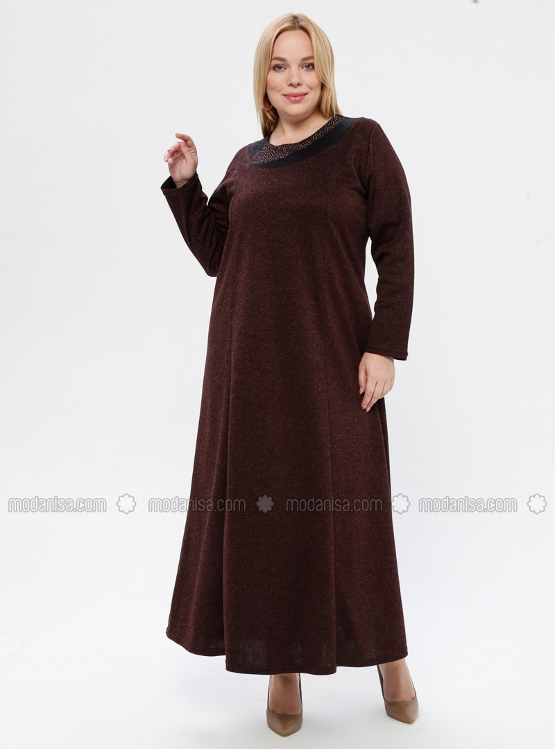 Brown - Unlined - Crew neck - Viscose - Plus Size Dress