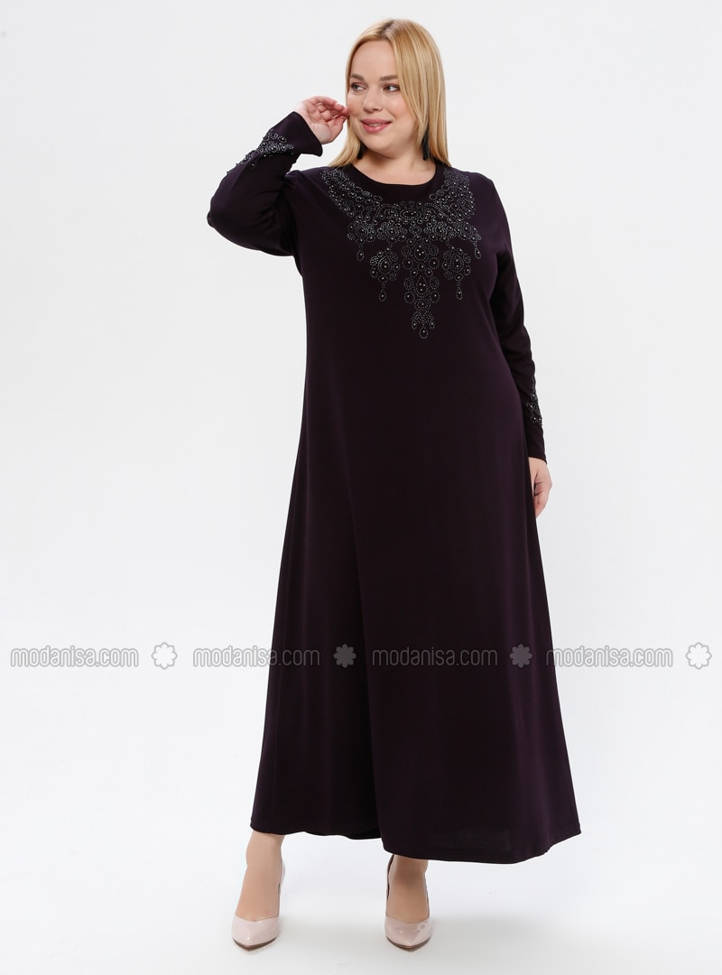 Plum - Unlined - Crew neck - Viscose - Plus Size Dress