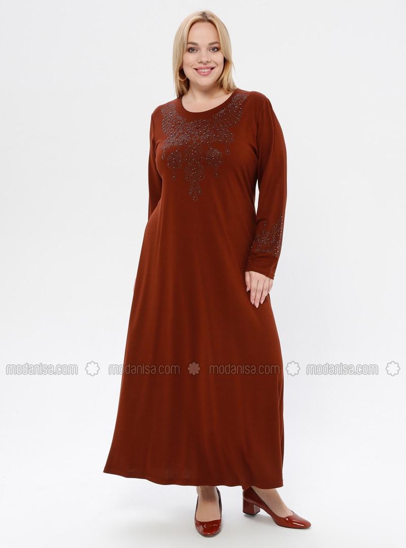 Tan - Unlined - Crew neck - Viscose - Plus Size Dress