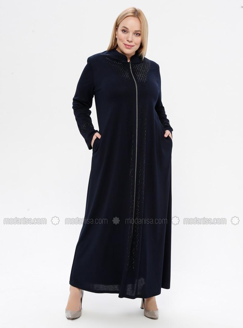 Navy Blue - Crew neck - Unlined - Viscose - Plus Size Abaya
