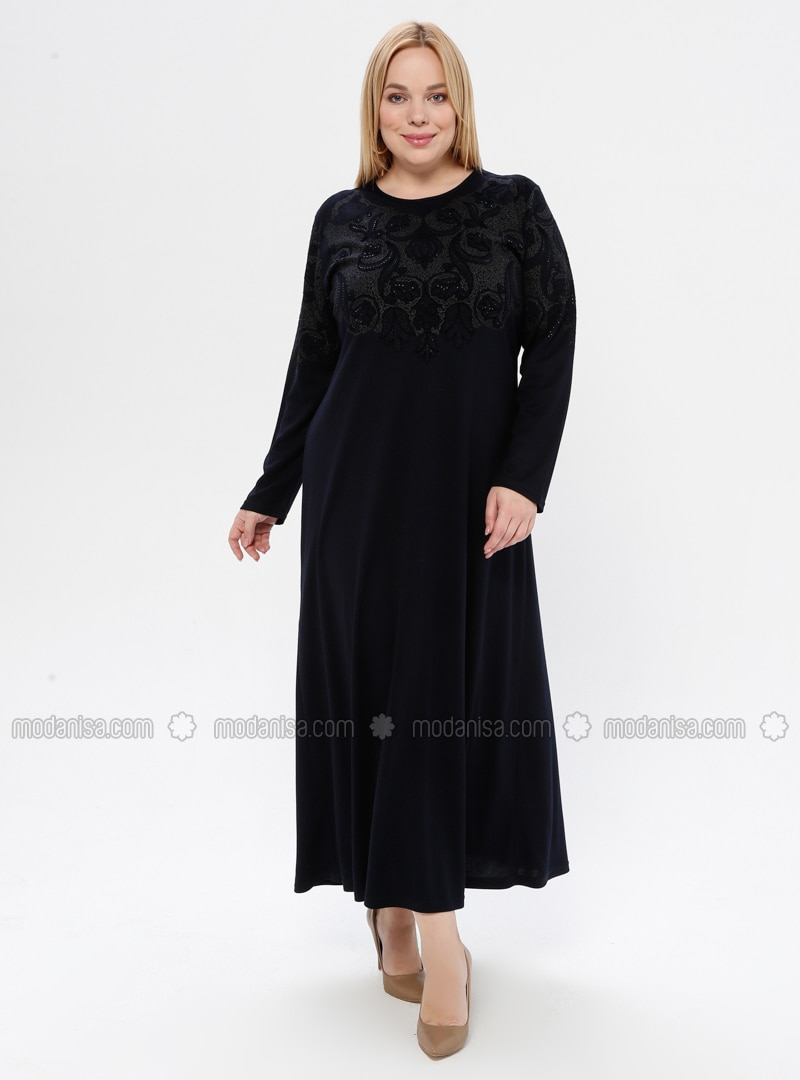 Navy Blue - Floral - Unlined - Crew neck - Plus Size Dress