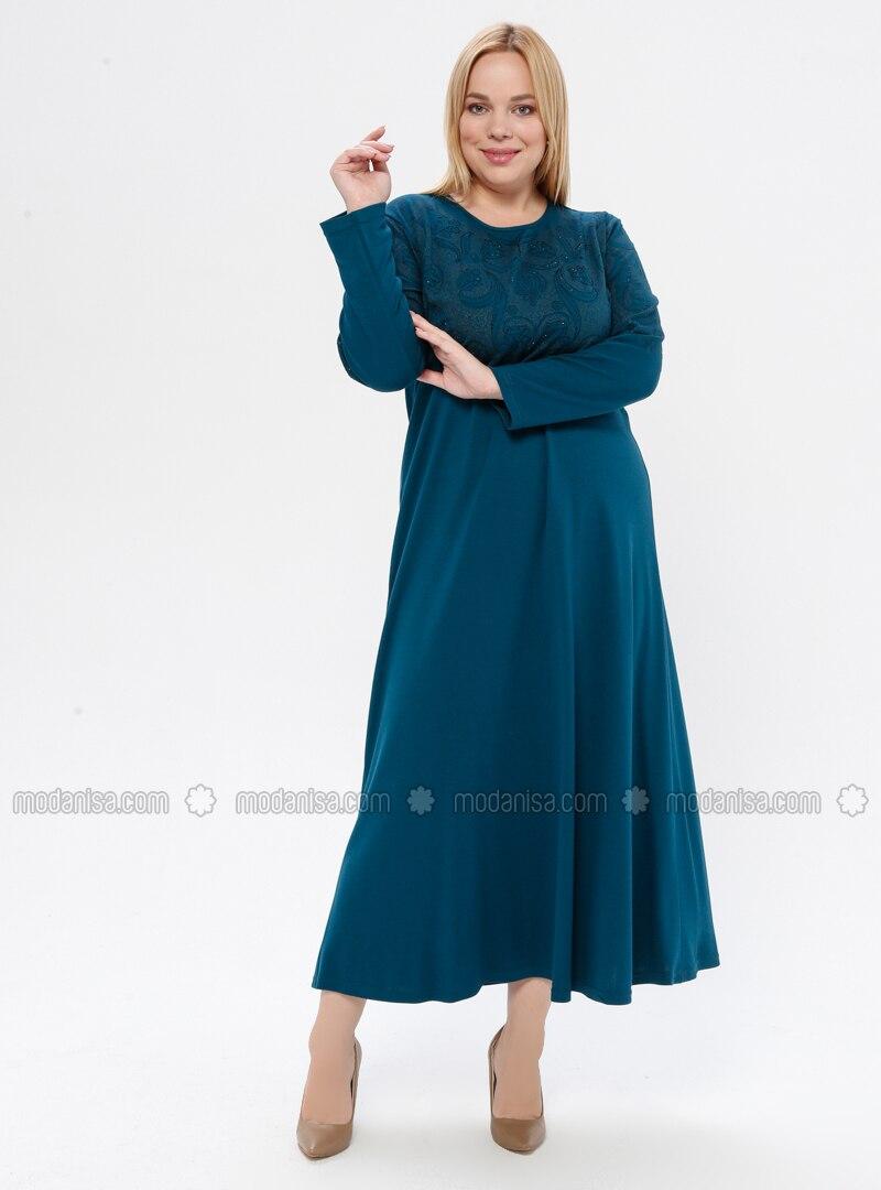 Petrol - Floral - Unlined - Crew neck - Plus Size Dress