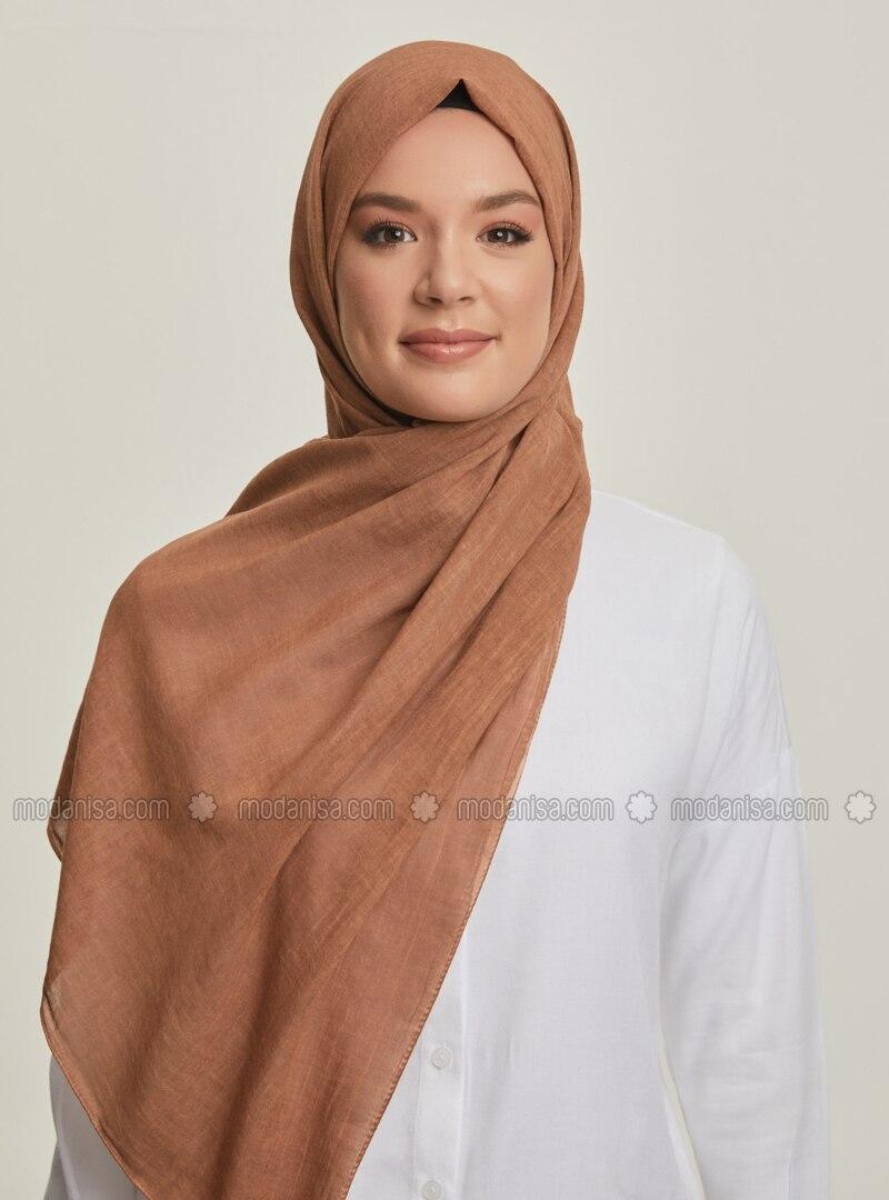 Cinnamon - Plain - Cotton - Shawl