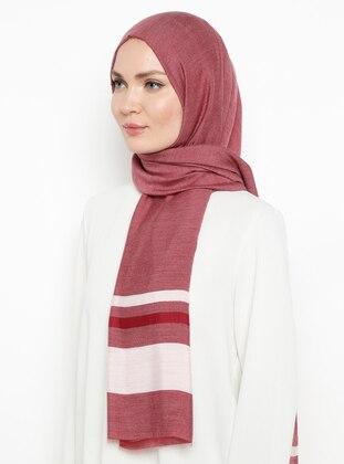 Maroon - Striped - Plain - Viscose - Shawl