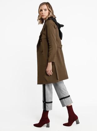 Khaki - Fully Lined - Shawl Collar - Nylon - Trench Coat