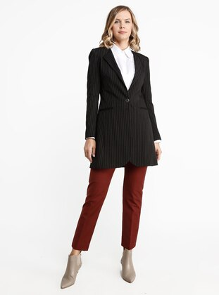 Black - Stripe - Fully Lined - Shawl Collar - Viscose - Jacket
