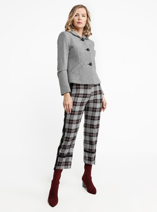Silver tone - Houndstooth - Fully Lined - Round Collar - Viscose - Jacket