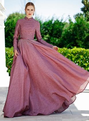 Fuchsia - Fully Lined - Crew neck - Muslim Evening Dress