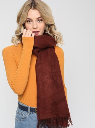 Acrylic - Wool Blend - Brown - Plain - Fringe - Shawl Wrap