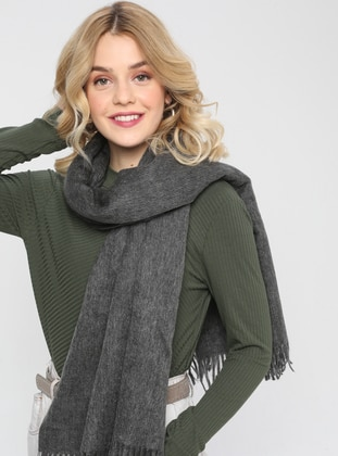 Acrylic - Wool Blend - Anthracite - Plain - Fringe - Shawl Wrap - Mervin Şal