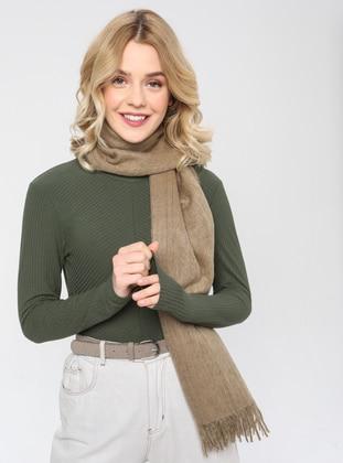 Acrylic - Wool Blend - Beige - Plain - Fringe - Shawl Wrap