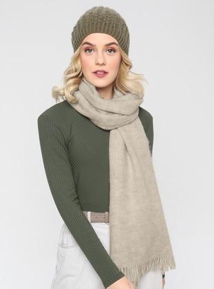 Acrylic - Wool Blend - Ecru - Plain - Fringe - Shawl Wrap