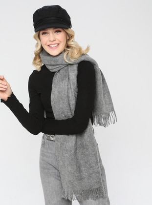 Acrylic - Wool Blend - Gray - Plain - Fringe - Shawl Wrap - Mervin Şal