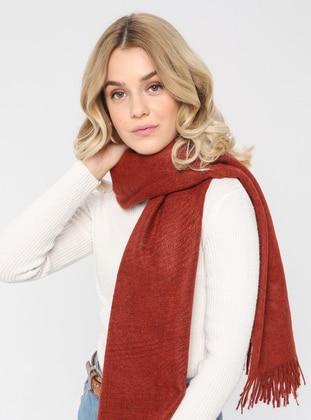Acrylic - Wool Blend - Terra Cotta - Plain - Fringe - Shawl Wrap