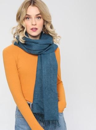 Acrylic - Wool Blend - Petrol - Plain - Fringe - Shawl Wrap