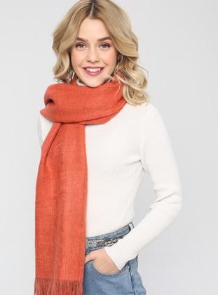 Acrylic - Wool Blend - Orange - Plain - Fringe - Shawl Wrap