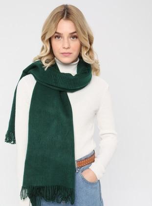 Acrylic - Wool Blend - Emerald - Plain - Fringe - Shawl Wrap