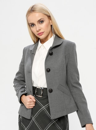 Gray - Fully Lined - Round Collar - Jacket