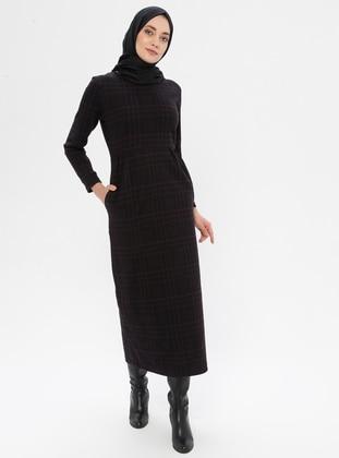 Plum - Plaid - Crew neck - Unlined - Viscose - Dress