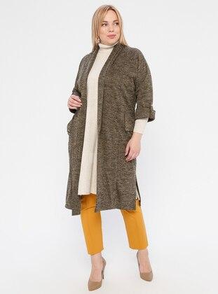 Khaki - Shawl Collar - Acrylic -  - Plus Size Cardigan - SLN Exclusive
