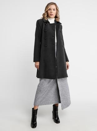 Smoke - Fully Lined - Point Collar - Viscose - Coat