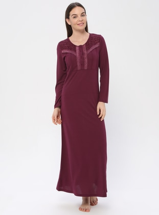 Plum - Sweatheart Neckline - Nightdress