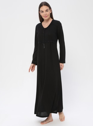 Black - Black - Sweatheart Neckline - Nightdress