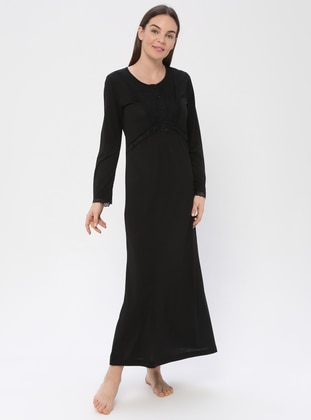 Black - Crew neck - Viscose - Nightdress - PILLOWTALK