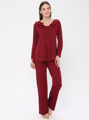 Maroon - Maroon - Crew neck - Viscose - Pyjama Set