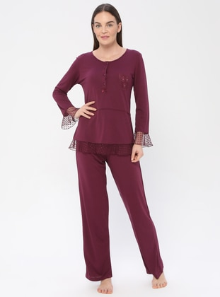 Plum - Crew neck - Viscose - Pyjama
