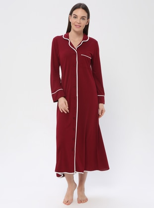 Maroon - V neck Collar - Nightdress - PILLOWTALK