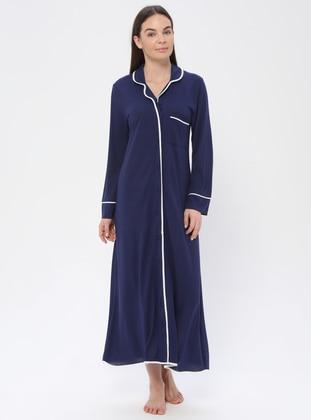 Navy Blue - V neck Collar - Nightdress - PILLOWTALK
