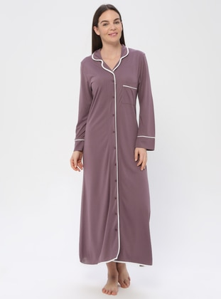 Purple - V neck Collar - Nightdress - PILLOWTALK