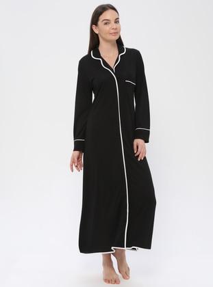 Black - V neck Collar - Nightdress - PILLOWTALK